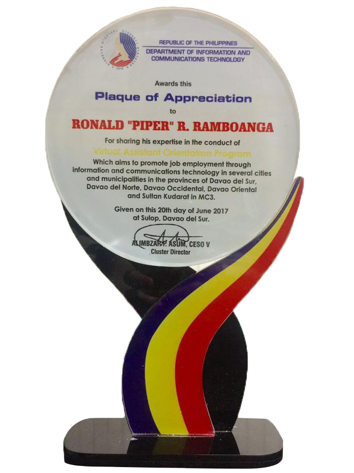 Virtual Assistant Orientation Program (VAOP) Plaque of Appreciation